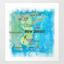 USA New Jersey State Travel Poster Map with Touristic Highlights Art Print
