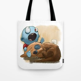 Zombies like to bite stuff too. Tote Bag