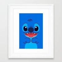 stitch Framed Art Prints featuring Stitch by skyetaylorrr