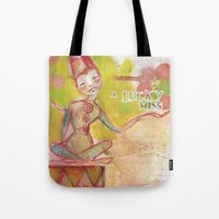 jane davenport Tote Bags featuring Lucky Miss by Jane Davenport by Jane Davenport