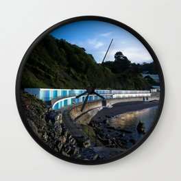 Meadfoot Imposing Cliffs And Beach Huts Wall Clock