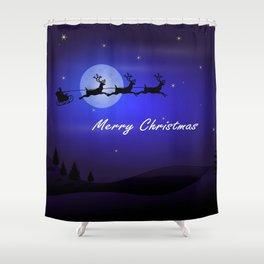 Reindeer pulling Santa's Sleigh Shower Curtain
