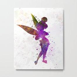 Tinker bell in watercolor Metal Print