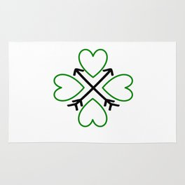 St. Patrick's Day Shamrock Lucky Charm Green Clover Veart with Arrows Rug