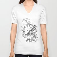 rat V-neck T-shirts featuring Rat by Ruff Worlock
