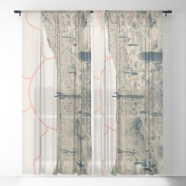 Wonder Rift // Abstract Vintage Mountains Summer Sun Surfer Beach Vibes Drawing Happy Wall Decor Sheer Curtain