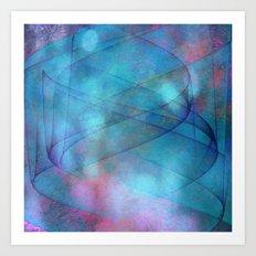 Blue tornado with fairy lights Art Print