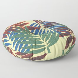Palm Leaves in Red, Blue and Green Floor Pillow