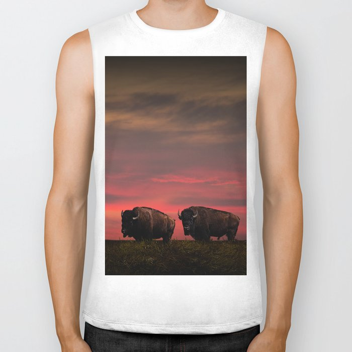 Two American Buffalo Bison at Sunset Biker Tank