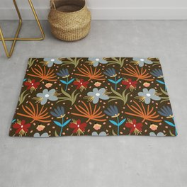 Colorful floral Cut Out Flowers and Leaves Brown Rug