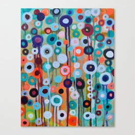 Abstract Medley of Flowers Circle Field of Blooms Painting by Prisarts Canvas Print