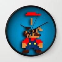 tetris Wall Clocks featuring Mario Tetris by Darthdaloon