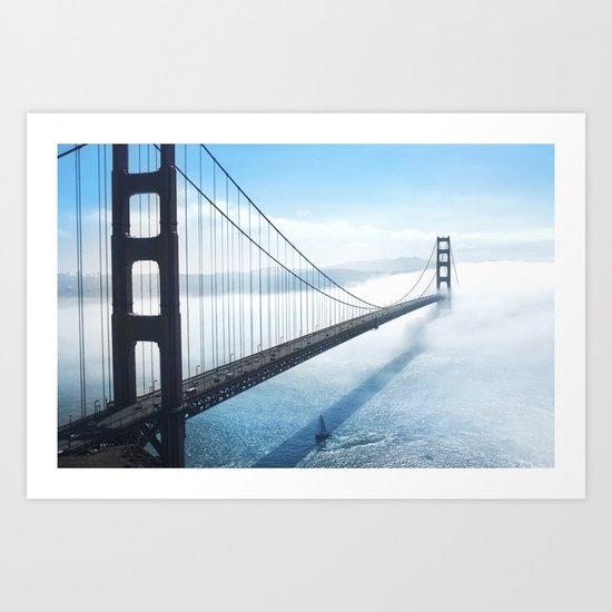 golden gate bridge river Art Print