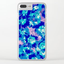 blooming blue flower abstract with pink background Clear iPhone Case
