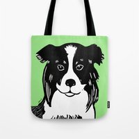 border collie Tote Bags featuring Border Collie Printmaking Art by Artist Abigail