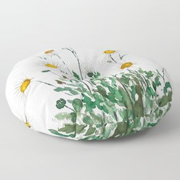 white Margaret daisy watercolor Floor Pillow