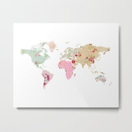 Pastel World Map Poster Metal Print