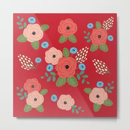 Flower Pattern, Pink Blue Flowers on Red, Vintage Floral Design Metal Print