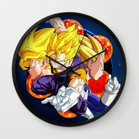 dbz Wall Clocks featuring DBZ - Goku, Vegeta and Vegeto by Mr. Stonebanks