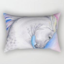 Rainbow Arabian Horse watercolor Art Rectangular Pillow