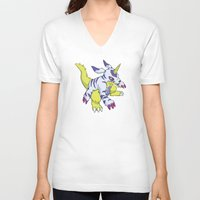 digimon V-neck T-shirts featuring Gabumon by Jelecy