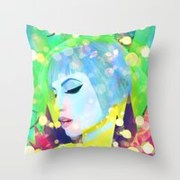 hayley williams Throw Pillows featuring Digital Painting - Hayley Williams - Variation 2 by EmmaNixon92
