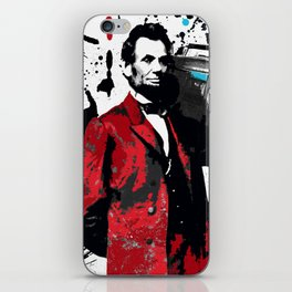 ABRAHAM LINCOLN INK SPLASH RED MAKE MUSIC NOT WAR iPhone Skin