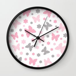 Pink and Grey Butterflies and Flowers Wall Clock