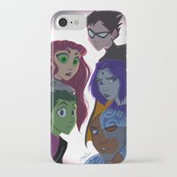 teen titans iPhone & iPod Cases featuring Teen Titans by Angie Nasca