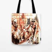 silent hill Tote Bags featuring Silent Hill by Joseph Silver