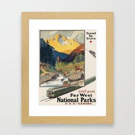 Vintage poster - National parks Framed Art Print