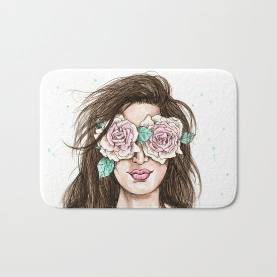 white roses in their eyes (female version) Bath Mat