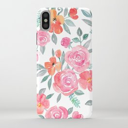 Amelia Floral in Pink and Peach Watercolor iPhone Case