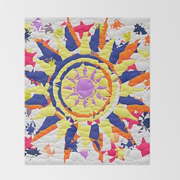 Colorful Quilted sun pattern Abstract Throw Blanket