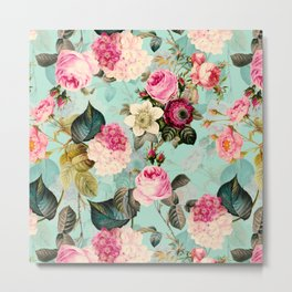 Vintage & Shabby Chic - Summer Teal Roses Flower Garden Metal Print