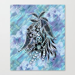Hawaiian Tribal Floral Canvas Print