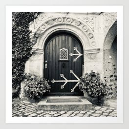 Open Me - Medieval Castle Door, Germany (Burg Lauenstein - Franconia - Bavaria) - Black and White Photo  Art Print