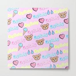 CRY BABY PRINT- PASTEL PINK Metal Print