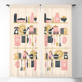 Colorful Cooking In A Mid Century Scandinavian Kitchen Blackout Curtain