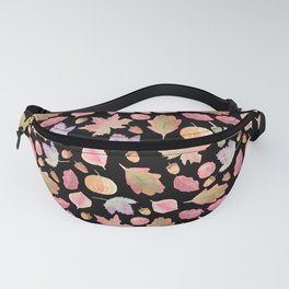 Watercolor Autumn Leaves in black Fanny Pack