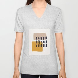 Brush Stroke with Mustard Cashmere 03 - Abstract Minimal Shapes Modern Mid Century Texture. Gift idea Home deco Unisex V-Neck