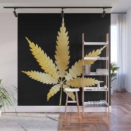 Gold Cannabis Leaf Wall Mural