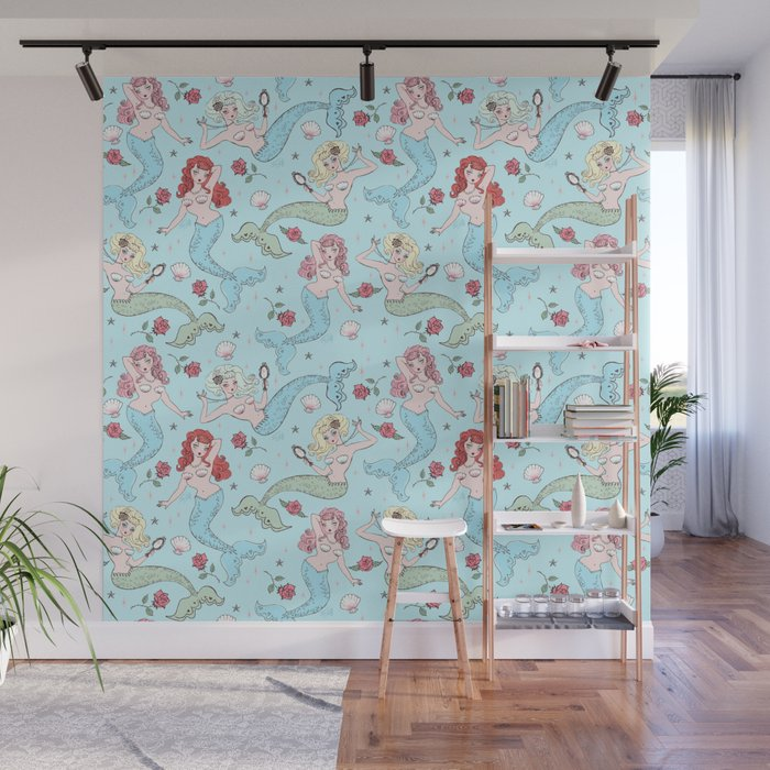 Mermaids and Roses on Aqua Wall Mural