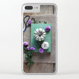 Mums and Pumpkins - Fall Favorites Clear iPhone Case