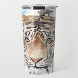 """Watercolor Painting of Picture """"Portrait of a Tiger"""" Travel Mug"""