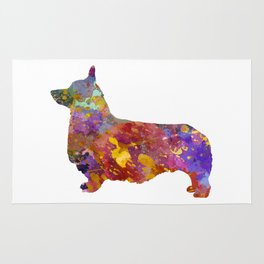 Pembroke Welsh Corgi 01 in watercolor Rug