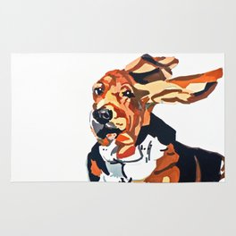 Basset Hound Flying Ears Portrait Rug