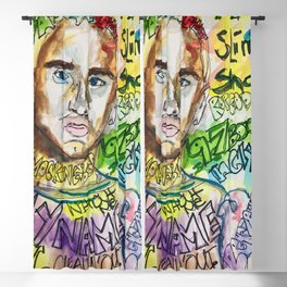 slim shady, em,rap,rapper,poster,wall art, cool,dope,lyrics,my name is, drawing, street art,grafitti Blackout Curtain