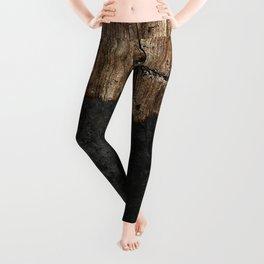 Black Grunge & wood pattern Leggings