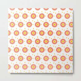 Modern orange yellow hand painted floral pattern Metal Print